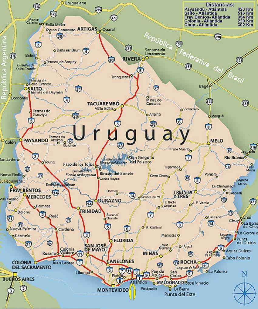 Mapa de Uruguay con rutas desde puntos de acceso al país hasta ...